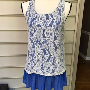 Filly Flair Blue Lace Long Tank